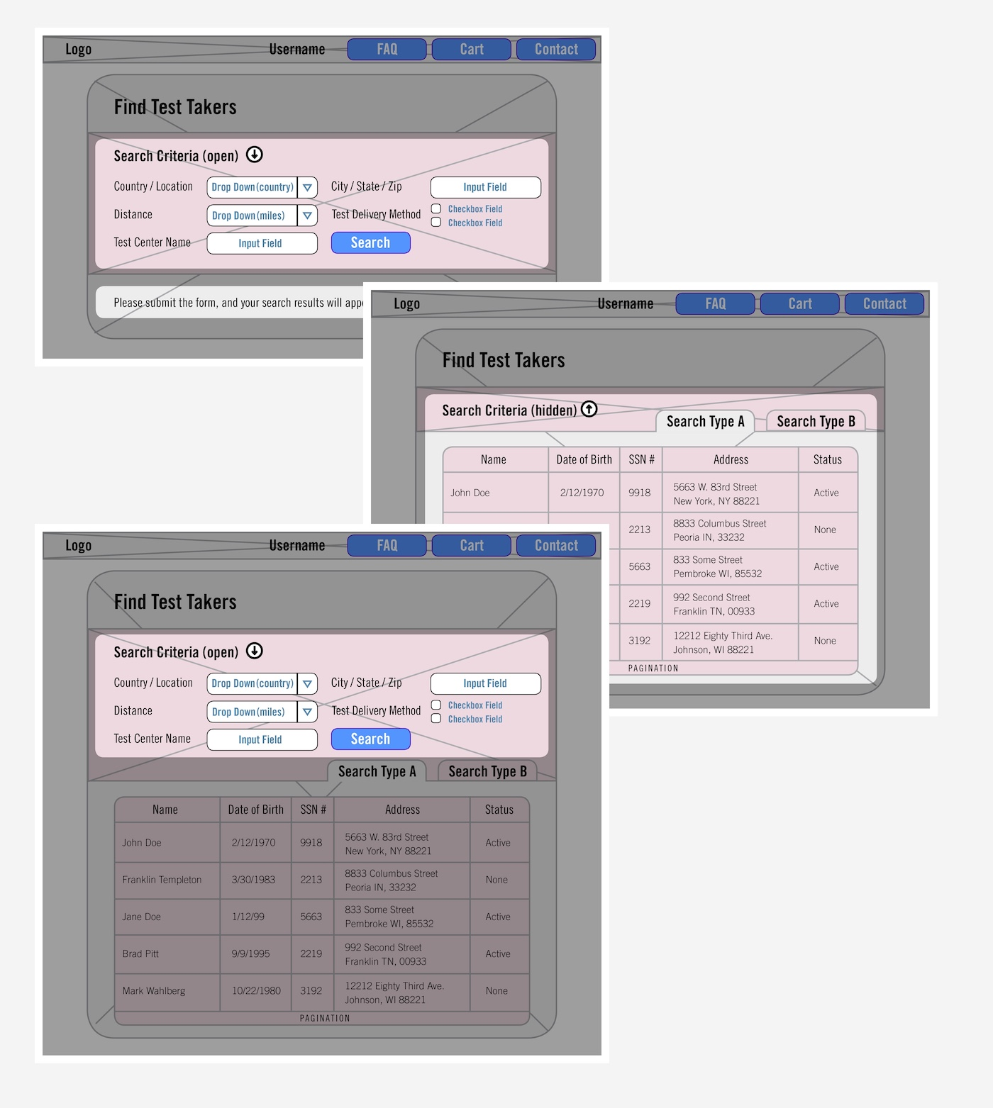 ETS Search Wireframes